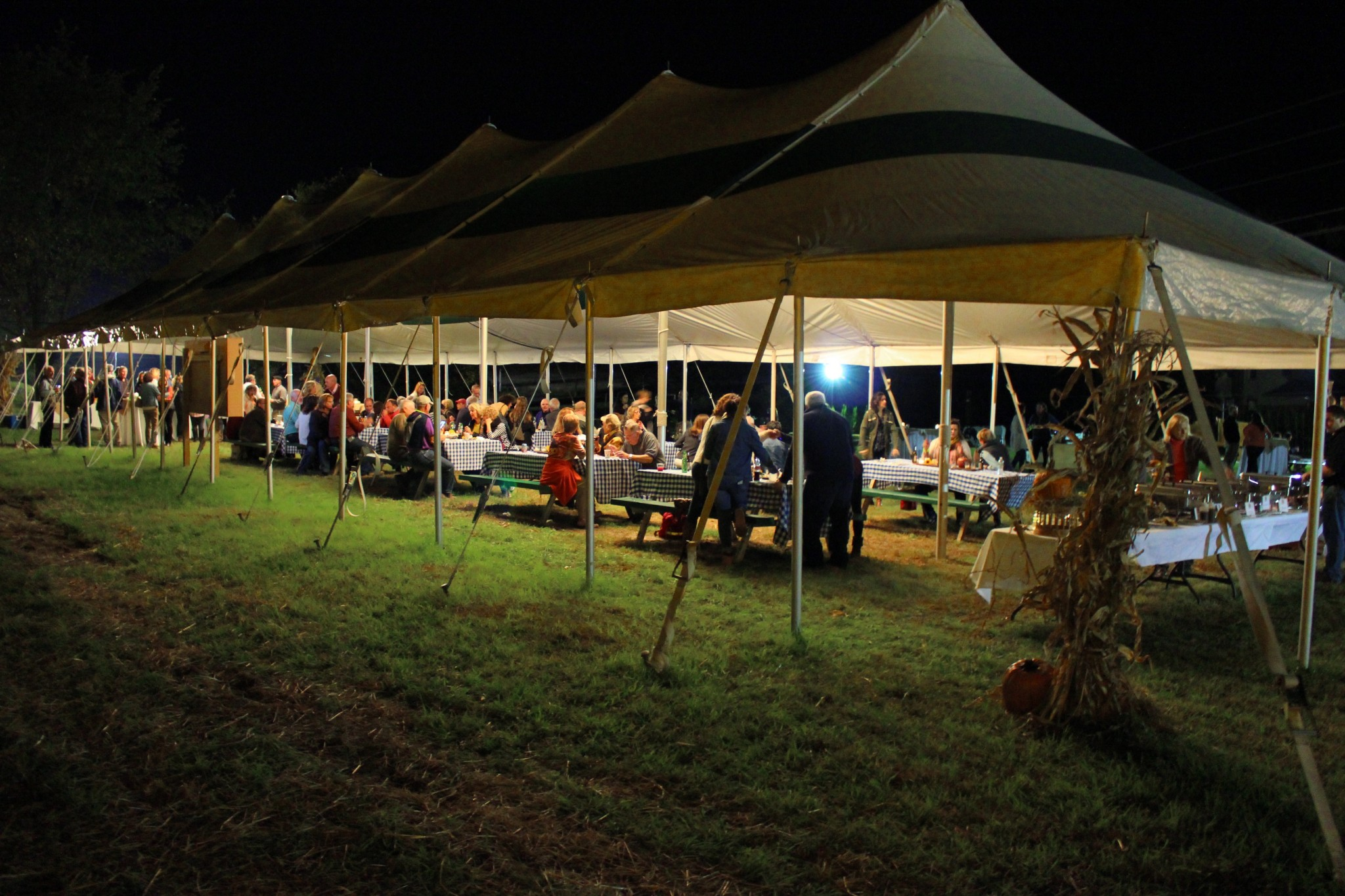 Hopewell Valley Arts Council's aMAZing Pumpkin Preview Party tent and tables
