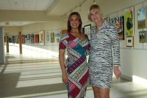 Bainy Suri of Capital Health and Carol Lipson of Hopewell Valley Arts Council at the Beyond the Stampede Art Exhibit