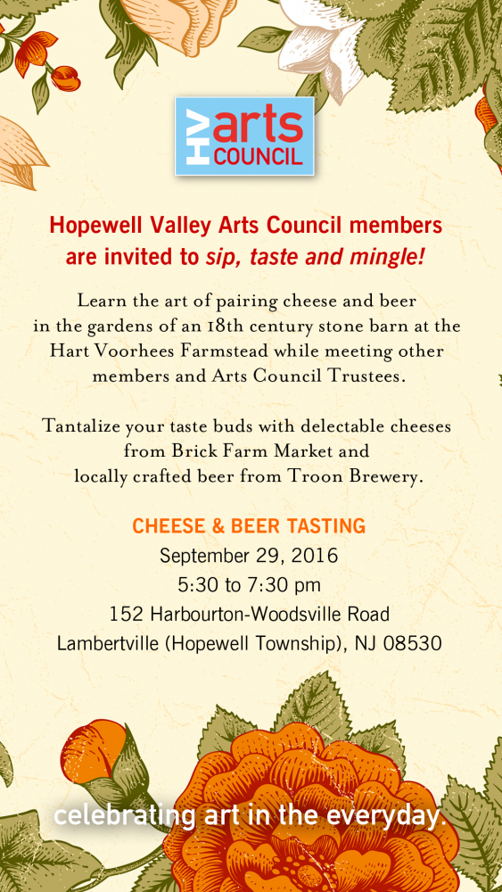 Hopewell Valley Arts Council September 29 2016 Member Party Invitation